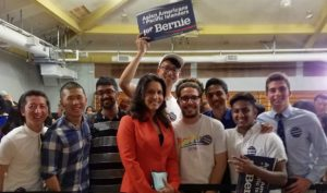 Tulsi Gabbard with Bernie Sanders supports