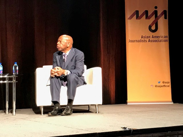 Rep John Lewis at the Asian American Journalists Association convention in Atlanta