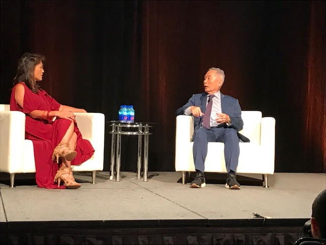 ABC News Juju Chang of Nightline interviews actor George Takei at the Asian American Journalists Association Convention in Atlanta