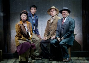 (from left) Lea Salonga as Kei Kimura, Telly Leung as Sammy Kimura, George Takei as Ojii-san and Paul Nakauchi as Tatsuo Kimura in the World Premiere of Allegiance - A New American Musical, with music and lyrics by Jay Kuo and book by Marc Acito, Kuo and Lorenzo Thione, directed by Stafford Arima, Sept. 7 - Oct. 21, 2012 at The Old Globe. Photo by Henry DiRocco.