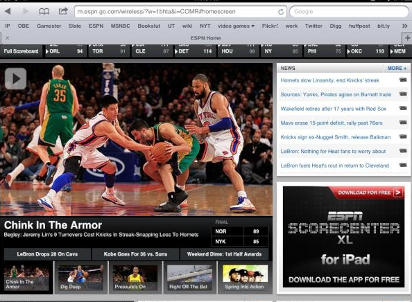 Chink in the armor ESPN headline