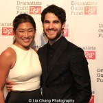 Jenna Ushkowitz and Darren Criss attend the Dramatists Guild Fund's Gala: 'Great Writers Thank Their Lucky Stars' at Gotham Hall on October 26, 2015 in New York City. Photo by Lia Chang