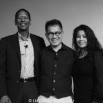 "Screening of ""The Killing Fields of Dr. Haing S. Ngor,"" International House, October 22, 2015, New York. (L-R) Calvin Sims, President and CEO of International House, director Arthur Dong and Sophia Ngor, Dr. Ngor's niece and film subject. Photo by Lia Chang"