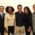 "Screening of ""The Killing Fields of Dr. Haing S. Ngor,"" International House, October 22, 2015, New York. (L-R) director Arthur Dong, Sophia Ngor, Dr. Ngor's niece and film subject and Wayne Ngor, Dr. Ngor's nephew and narrator, with guests. Photo by Lia Chang"