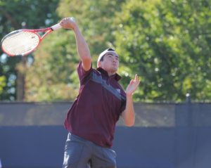 Photo: Peter Leung, who recorded a victory at No. 4 singles in UAA quarterfinal against CWRU