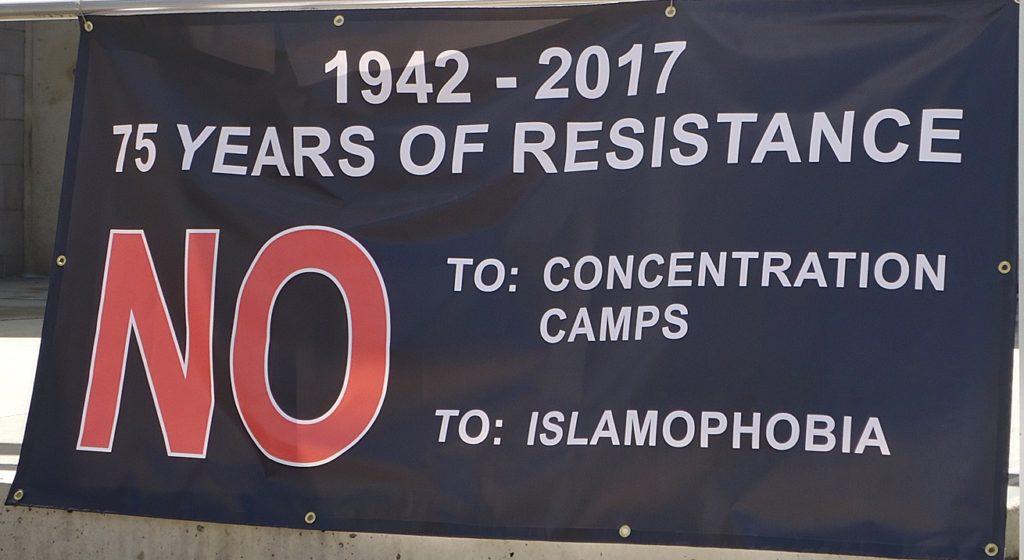 Islamphobia protest sign