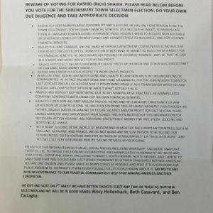 anti-Muslim letter