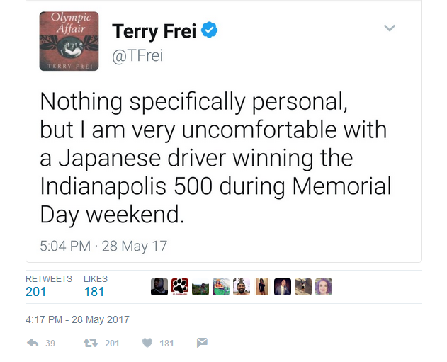 Terry Frei of the Denver Post tweeted out his racism sentiments after the Indy 500