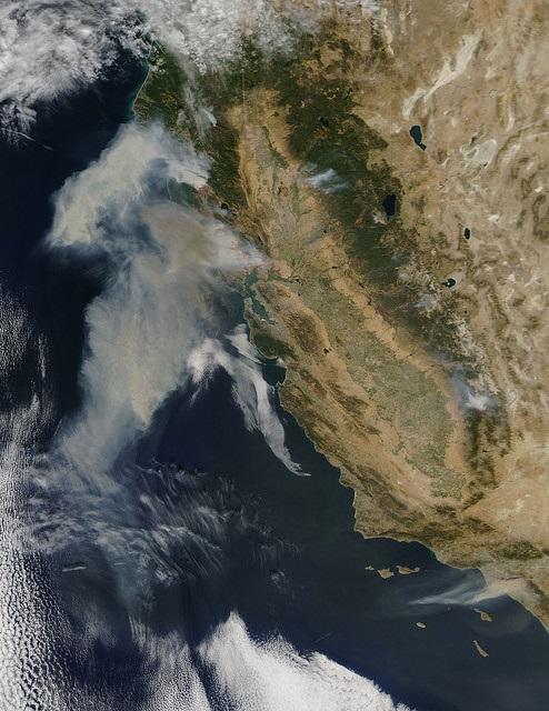 Wine country fires 2017 via NASA Satellite