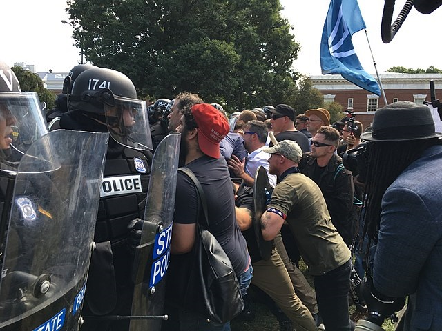 White Supremacists clash with police at rally in Charlottesville, Virginia. By Evan Nesterak - via Wikimedia Commons