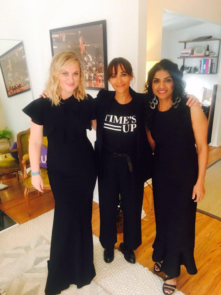 Saru Jayaraman with Amy Poehler and Rashida Jones before the Golden Globes 2018