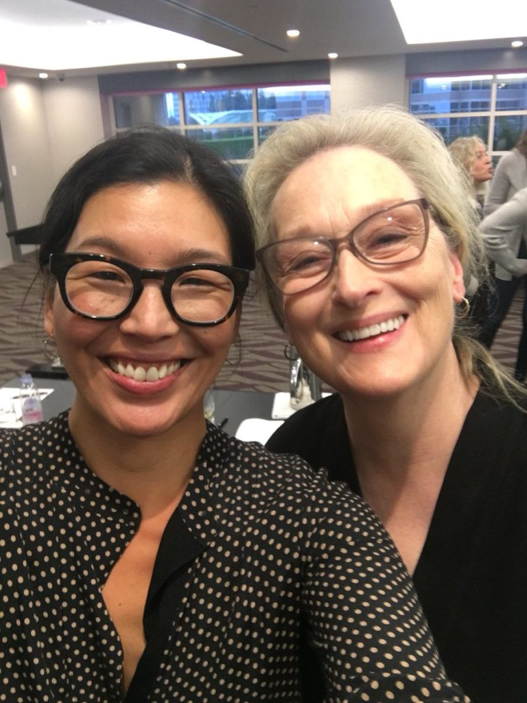 Ai-jen Poo with Meryl Streep at Golden Globes 2018