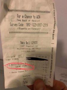 Taco Bell Receipt