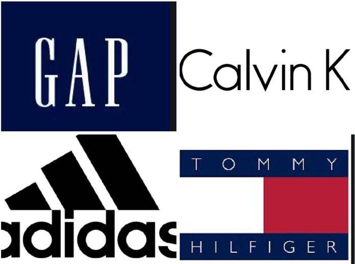 Gap, Calvin Klein, Adidas and Tommy Hilfiger logos