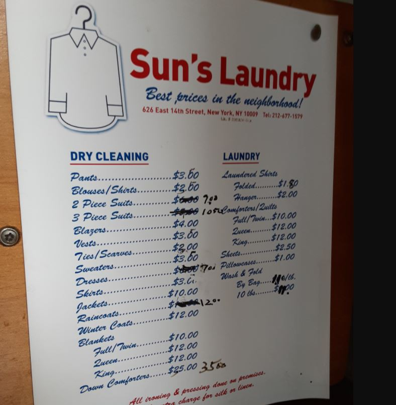 Sun Laundry boasts the best prices in Manhattan