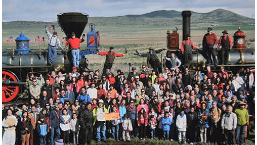 In 2014, Utah, 145th anniversary of the first Transcontinental Railroad, the act of Photographic Justice at  Promontory Summit, by Corky Lee.
