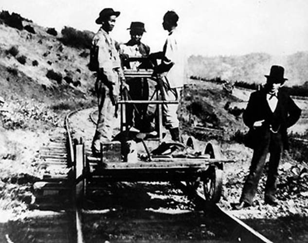 Second Transcontinental Railroad workers at Lang, CA